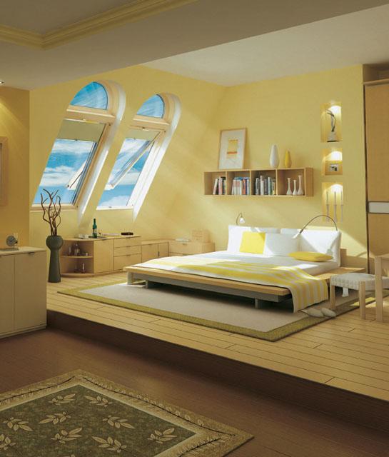 Окна в мансарде могут быть самые разнообразные и по форме - круглые, многоугольные, и по конструктивному решению...